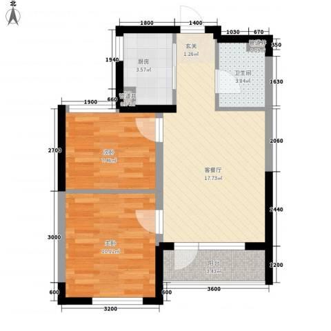 格林阳光城2室1厅1卫1厨45.58㎡户型图