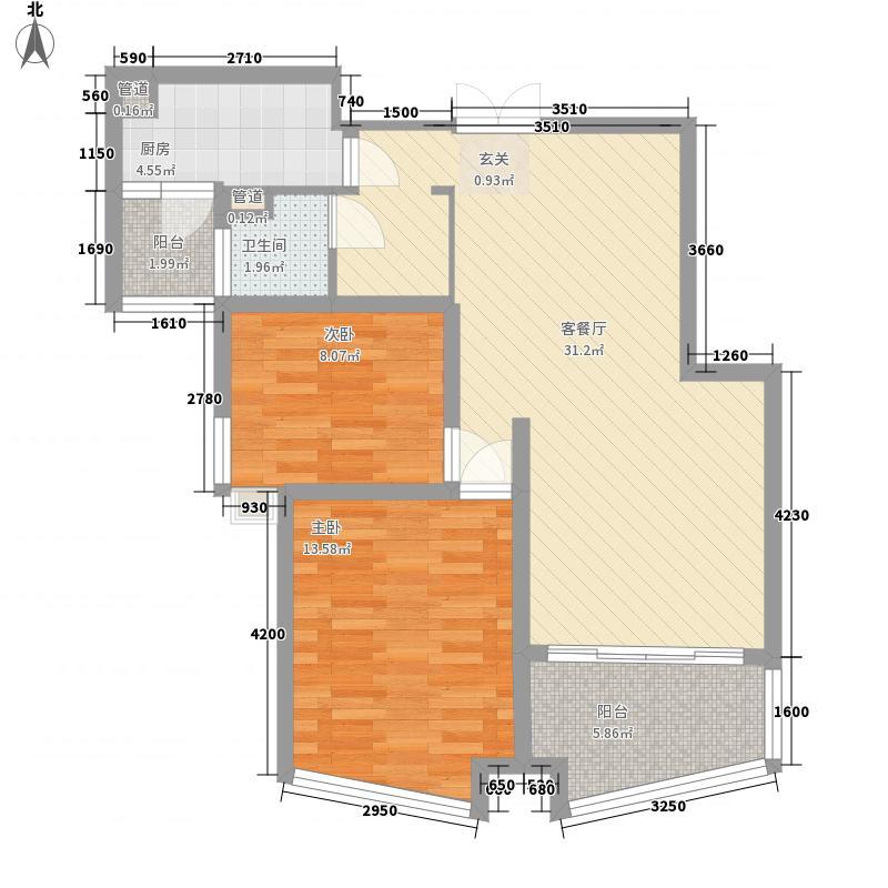 绿地海顿公馆98.24㎡绿地海顿公馆户型图F2标准层2室2厅1卫1厨户型2室2厅1卫1厨