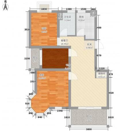 上海绿地香颂公寓3室1厅1卫1厨91.00㎡户型图