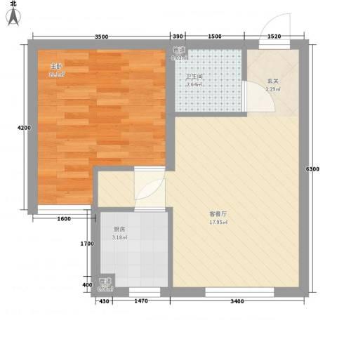 君悦美景1室1厅1卫1厨51.00㎡户型图