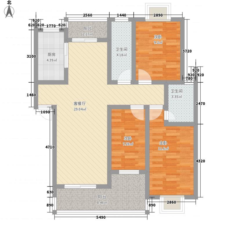 锦绣・御珑湾118.00㎡户型3室2厅2卫1厨