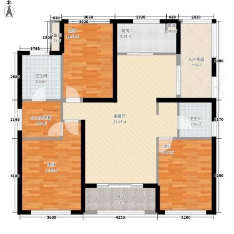 西双版纳滨江果园避寒度假山庄3室1厅2卫1厨146.00㎡户型图