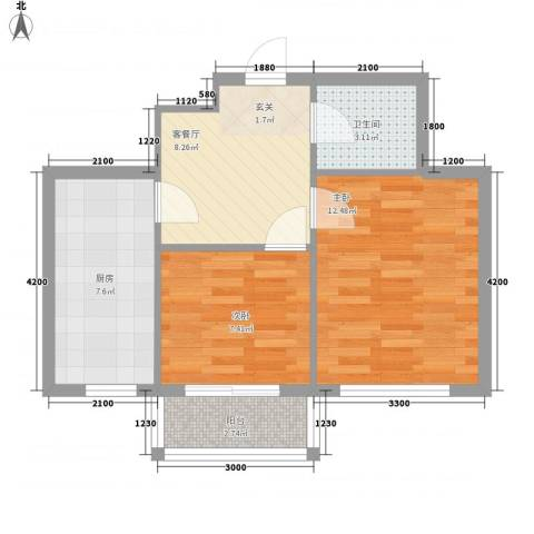 盛世家园2室1厅1卫1厨62.00㎡户型图