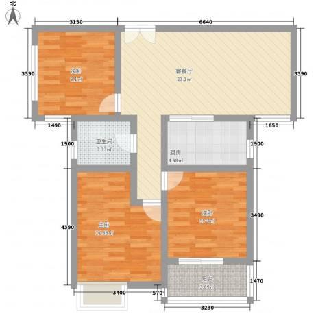 天山花园3室1厅1卫1厨96.00㎡户型图