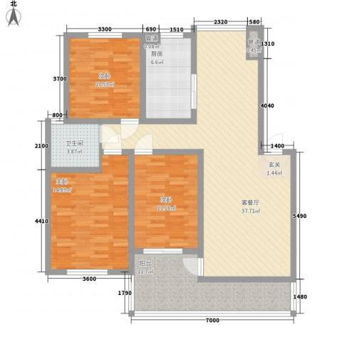 一品苑3室1厅1卫1厨117.00㎡户型图