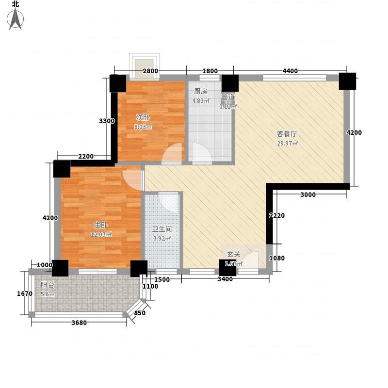未来海岸系天籁88.00㎡G户型2室2厅1卫