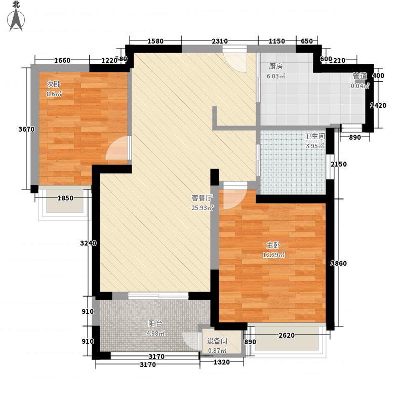 清水湾花园90.00㎡户型2室2厅1卫1厨