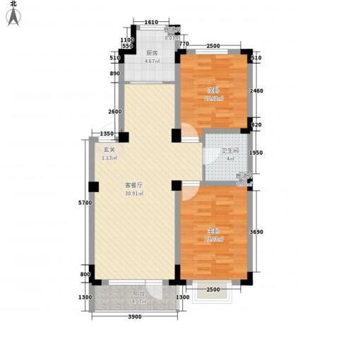 格林阳光城2室1厅1卫1厨88.00㎡户型图