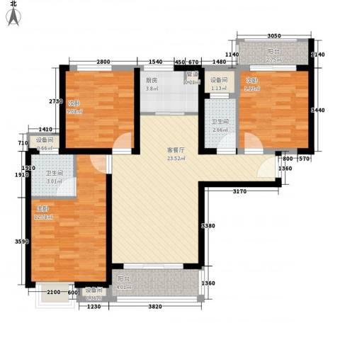 万益广场3室1厅2卫1厨73.10㎡户型图