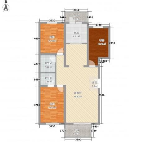 碧水嘉苑3室1厅2卫1厨139.00㎡户型图