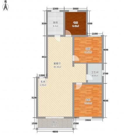名仕嘉景苑3室1厅1卫1厨139.00㎡户型图