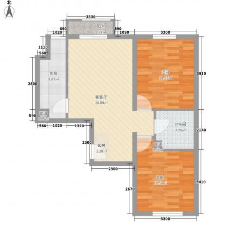 名仕嘉景苑2室1厅1卫1厨77.00㎡户型图