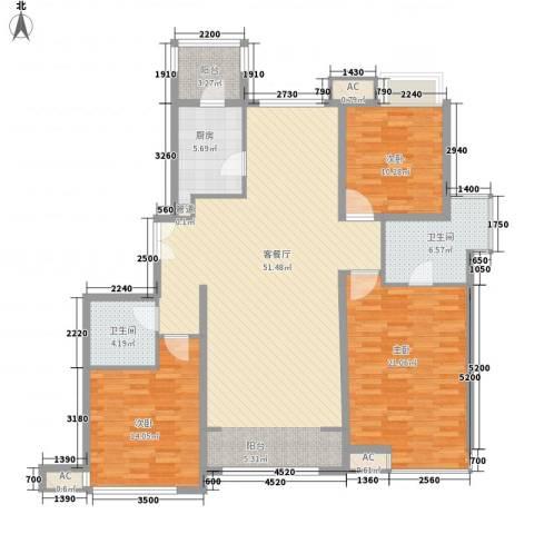 融科橄榄城三期君邑3室1厅2卫1厨166.00㎡户型图