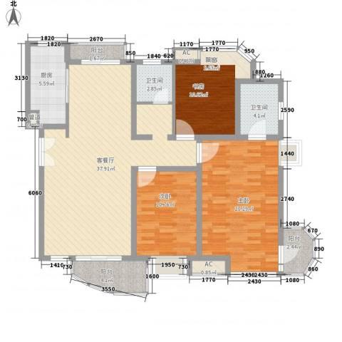 中铁人才家园3室1厅2卫1厨131.00㎡户型图