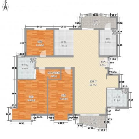 北京太阳城3室1厅2卫1厨190.00㎡户型图