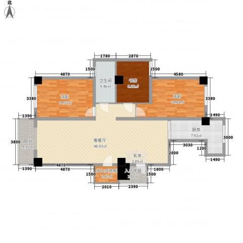 山海和湾3室1厅1卫1厨148.00㎡户型图