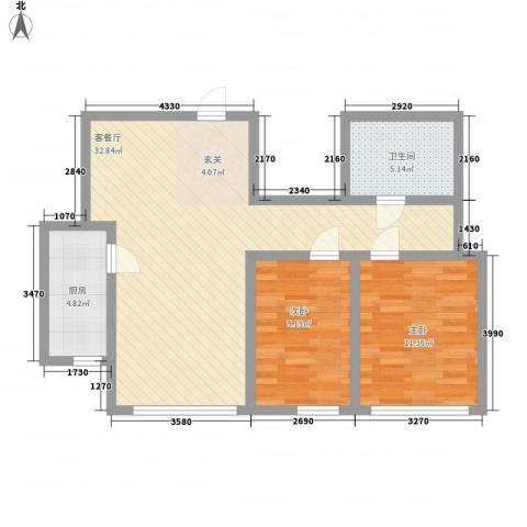 杨家滩花园2室1厅1卫1厨63.35㎡户型图