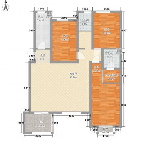一品苑3室1厅2卫1厨136.00㎡户型图