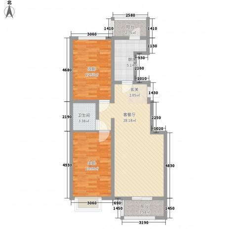 良园新居2室1厅1卫1厨68.96㎡户型图