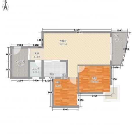 鸿景花园2室1厅1卫1厨88.00㎡户型图