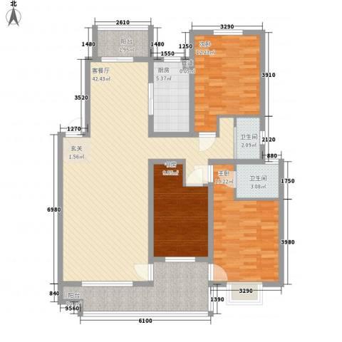 一品苑3室1厅2卫1厨146.00㎡户型图