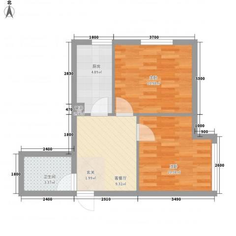 纳帕阳光2室1厅1卫1厨54.00㎡户型图