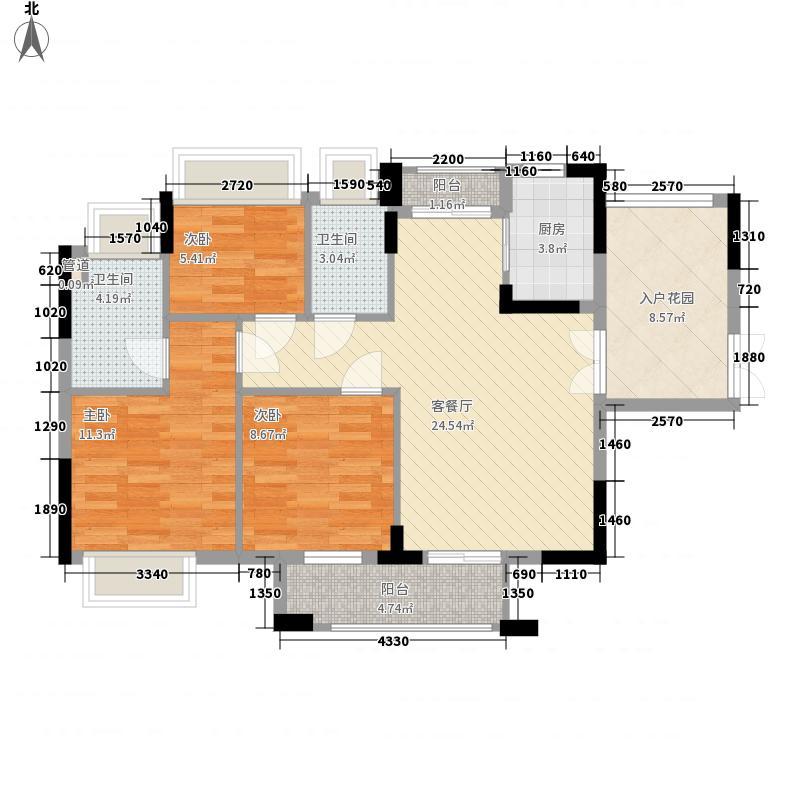 健朗花园101.00㎡健朗花园3室户型3室