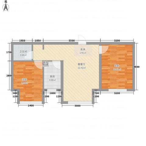 纳帕阳光2室1厅1卫1厨68.00㎡户型图