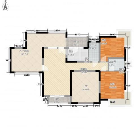 健朗花园2室1厅2卫1厨109.49㎡户型图