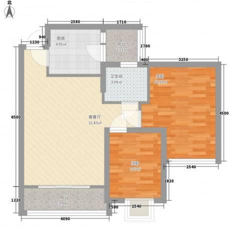 虎门海燕楼2室1厅1卫1厨80.00㎡户型图