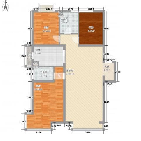 千缘爱城3室1厅2卫1厨138.00㎡户型图