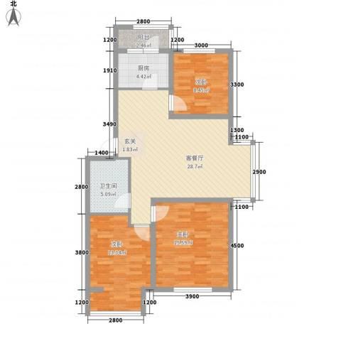 纳帕阳光3室1厅1卫1厨97.00㎡户型图