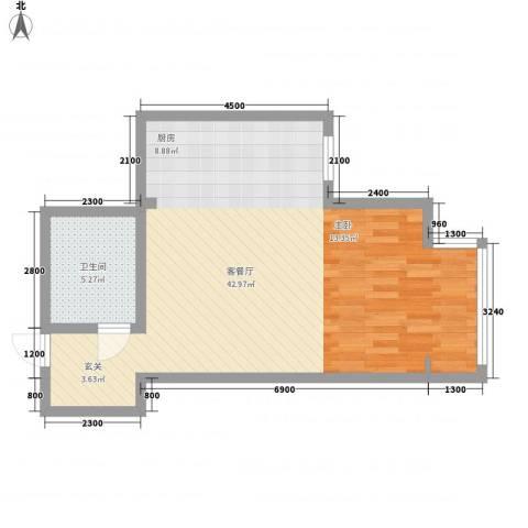 千缘爱城1厅1卫0厨66.00㎡户型图