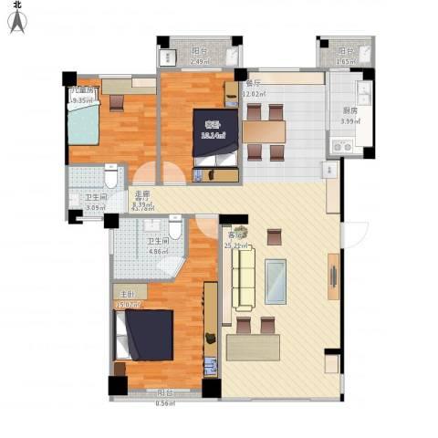 未来海岸浪琴湾3室1厅2卫1厨131.00㎡户型图