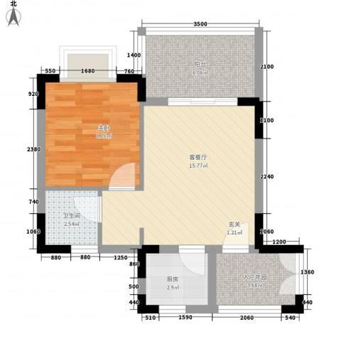 山海和湾1室1厅1卫1厨58.00㎡户型图