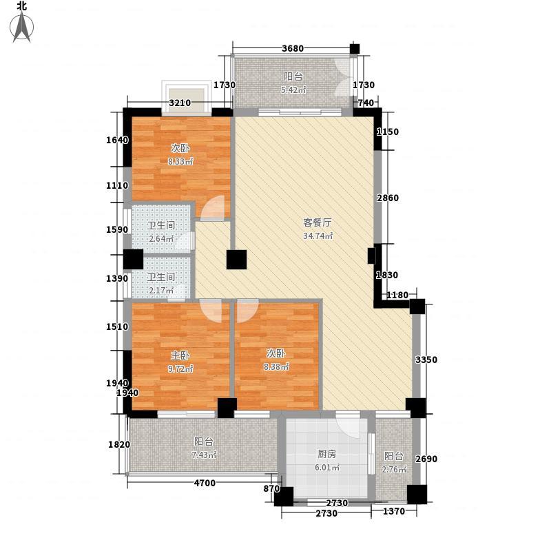 金蓝湾126.54㎡A户型3室2厅2卫1厨