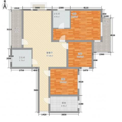 东泰花园又一居3室1厅2卫1厨108.30㎡户型图