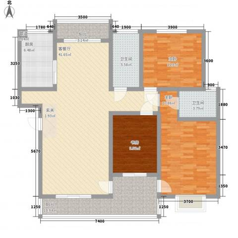 一品苑3室1厅2卫1厨133.00㎡户型图