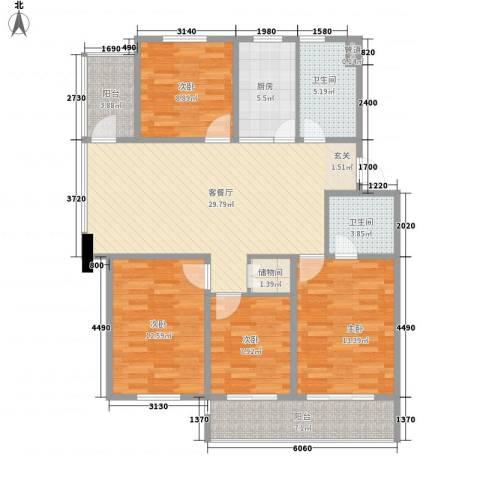 金东城雅居4室1厅2卫1厨140.00㎡户型图