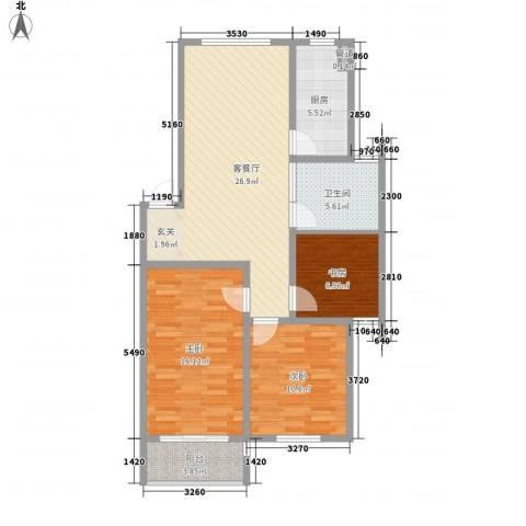 金东城雅居3室1厅1卫1厨107.00㎡户型图