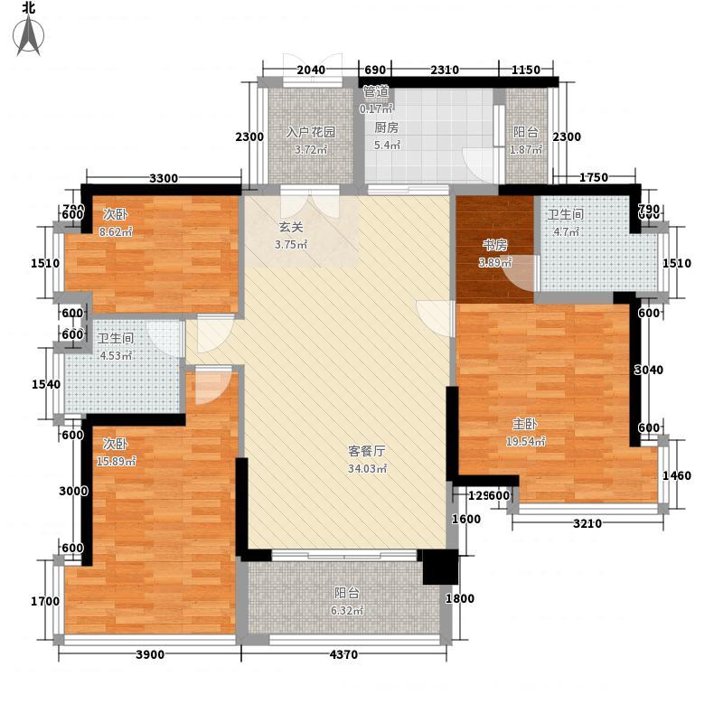 鸿翠苑124.72㎡鸿翠苑户型图B栋偶数层01单元3室2厅2卫户型3室2厅2卫