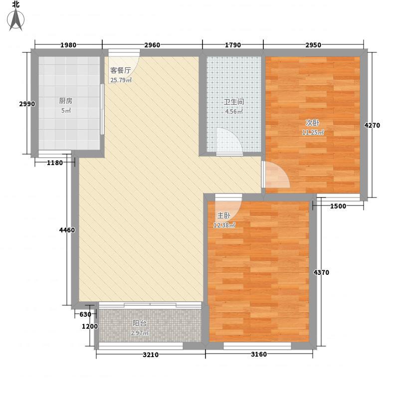 朗诗台一期3#、5#、7#、8#楼E户型2室2厅1卫
