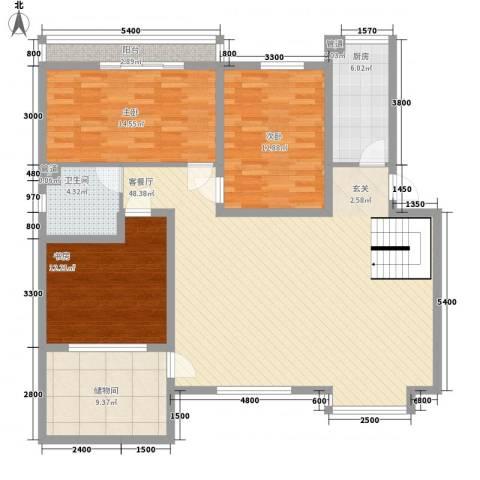 一品苑3室1厅1卫1厨125.00㎡户型图