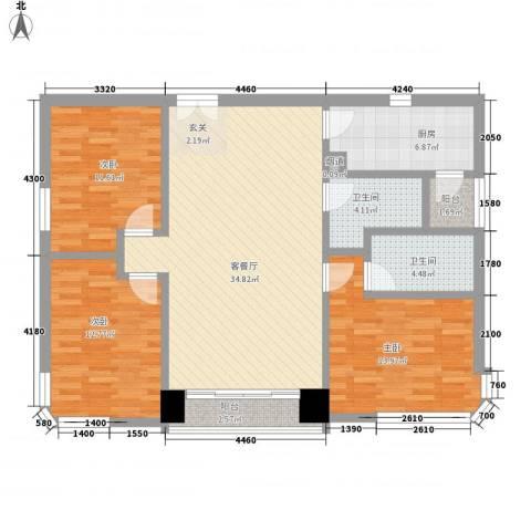 鹅潭明珠苑3室1厅2卫1厨135.00㎡户型图