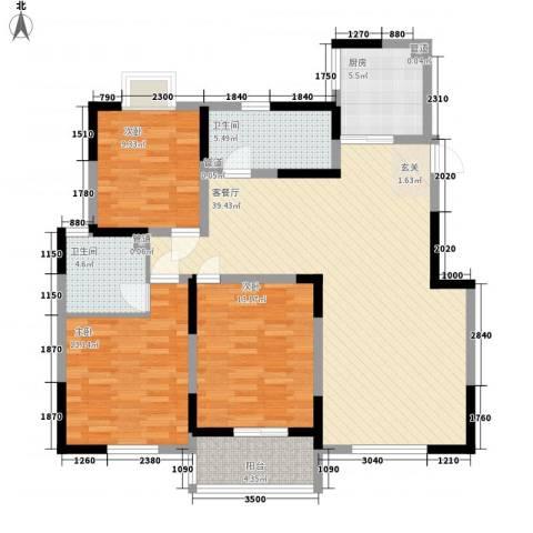 万邦・翰林郡3室1厅2卫1厨137.00㎡户型图