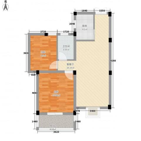 鑫达・风和日丽2室1厅1卫1厨84.00㎡户型图