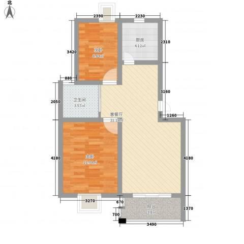 南城亲水佳苑2室1厅1卫1厨76.00㎡户型图