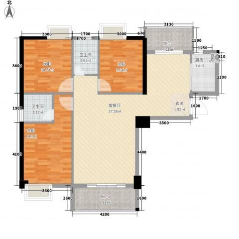 星河城市广场3室1厅2卫1厨92.59㎡户型图