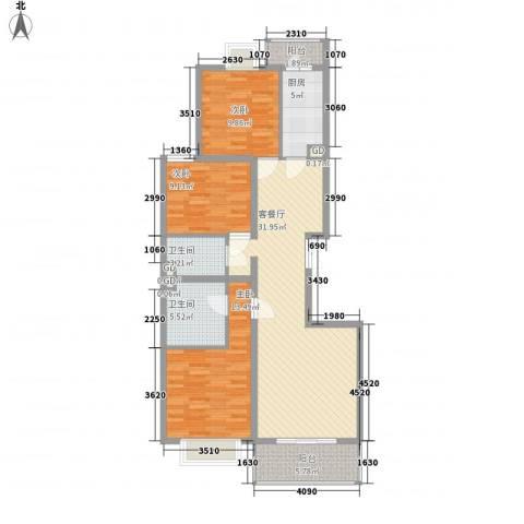 碧桂园温泉小区3室1厅2卫1厨124.00㎡户型图