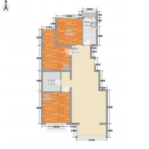 碧桂园温泉小区3室1厅1卫1厨118.00㎡户型图